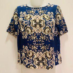 NWOT Madewell Victorian Print Silk Blouse